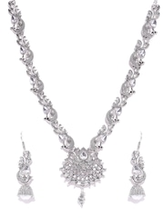Zaveri Pearls Oxidised Silver-Toned Stone-Studded Jewellery Set