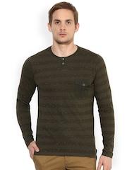 Leo Sansini Men Olive Green Striped Henley Neck T-shirt