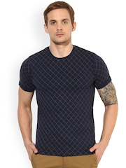 Leo Sansini Men Blue Printed Round Neck T-shirt