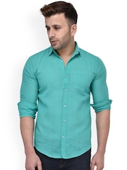 Hangup Men Turquoise Blue Regular Fit Solid Casual Shirt