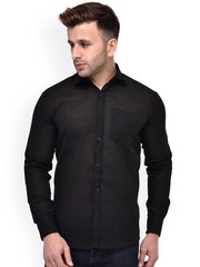 Hangup Men Black Regular Fit Solid Casual Shirt