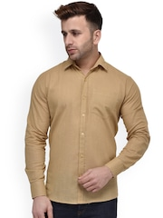 Hangup Men Khaki Regular Fit Solid Casual Shirt