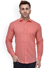 Hangup Men Peach-Coloured Regular Fit Solid Casual Shirt