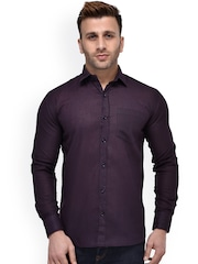 Hangup Men Purple Regular Fit Solid Casual Shirt
