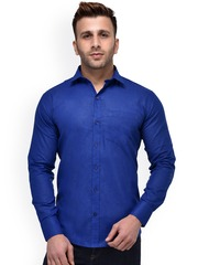 Hangup Men Blue Regular Fit Solid Casual Shirt