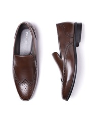 INVICTUS Men Brown Brogue Detail Semiformal Slip-Ons
