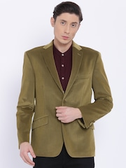 Theme Brown Slim Fit Single-Breasted Corduroy Casual Blazer