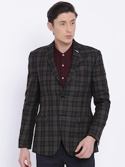Theme Brown & Black Checked Super Slim Fitted Woollen Casual Blazer