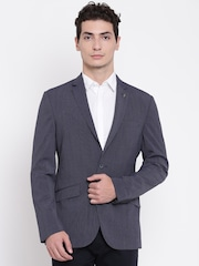Raymond Blue Self-Striped Tailored Slim Fit Single-Breasted Casual Blazer