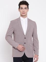 Raymond Red & Black Patterned Tailored Slim Fit Formal Blazer