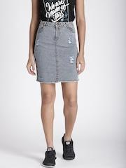 Splash Blue Denim Pencil Skirt