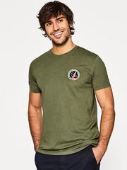 ESPRIT Men Olive Green Solid Round Neck T-shirt