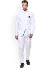 Hangup Men White Single-Breasted Regular Fit Ethnic Bandhgala Suit