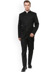 Hangup Men Black Single-Breasted Regular Fit Ethnic Bandhgala Suit