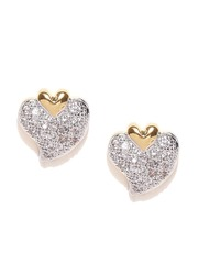 Spargz Gold Plated Cz Stone Studded Heart Shaped Studs