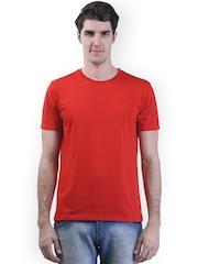 GRIFFEL Men Red Solid Round Neck T-shirt