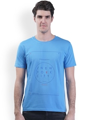 GRIFFEL Men Blue Printed Round Neck T-shirt