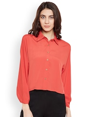 PRIMO KNOT Women Red Solid Shirt Style Top