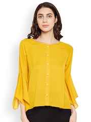 PRIMO KNOT Women Mustard Solid A-Line Top
