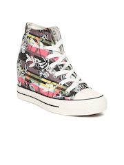Carlton London Pink Printed Mid-Top Heeled Sneakers