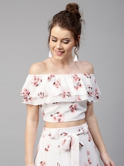 Get upto 70% off on Fashion for Women Women White Floral Print Layered Crop Bardot Top