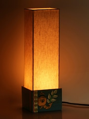 Table lamps buy table lamps online in india exclusivelane blue cream coloured handcrafted hand painted bedside table lamp mozeypictures Images