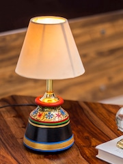 Table lamps buy table lamps online in india exclusivelane off white handcrafted hand painted bedside table lamp mozeypictures Images