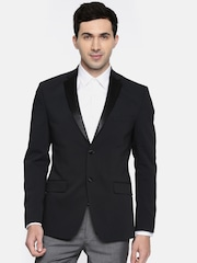 Theme Men Navy Self-Design Single-Breasted Formal Blazer