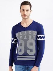 Maniac Men Blue Printed V-Neck T-shirt