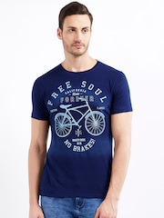 Maniac Men Navy Blue Printed Round Neck T-shirt