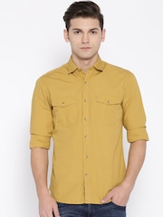 John Players Men Mustard Yellow Trim Fit Solid Casual Shirt