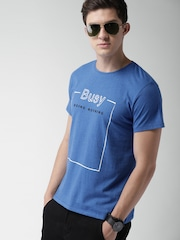 Mast & Harbour Men Blue Printed Round Neck T-shirt