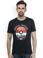 GRIFFEL Men Black Printed Round Neck T-shirt