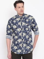 Wills Lifestyle Men Navy Blue Slim Fit Floral Print Casual Shirt