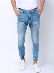 LOCOMOTIVE Men Blue Jogger Mid-Rise Clean Look Stretchable Jeans