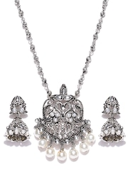 Zaveri Pearls Oxidised Silver-Toned Stone Stuudded Jewellery Set