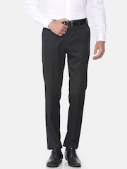 Theme Men Black Slim Fit Solid Formal Trousers