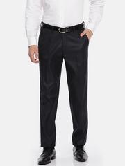 Theme Men Blue Slim Fit Striped Formal Trousers