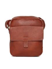 Baggit Men Brown Textured Messenger Bag