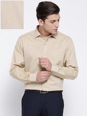 Wills Lifestyle Men Beige Regular Fit Self Design Formal Shirt