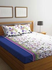 BOMBAY DYEING White U0026 Blue Floral Flat 120 TC Cotton 1 King Bedsheet With 2  Pillow