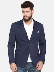 Theme Blue Single-Breasted Casual Blazer