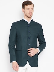 Shaftesbury London Men Green Single-Breasted Regular Fit Ethnic Bandhgala Blazer