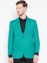 Shaftesbury London Green Regular Fit Single-Breasted Semi-Formal Blazer
