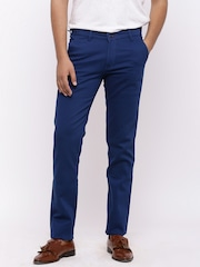 Nation Polo Club Men Blue Skinny Fit Solid Chinos