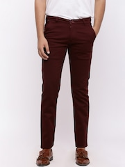 Nation Polo Club Men Maroon Skinny Fit Solid Chinos