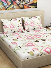 Divine Casa Pink U0026 Green Geometric Flat 150 TC Cotton 1 King Bedsheet With  2 Pillow