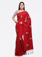 Colors Red Embroidered Poly Georgette Saree