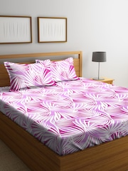 BOMBAY DYEING Magenta U0026 White Abstract Flat 104 TC Cotton 1 King Bedsheet  With 2 Pillow