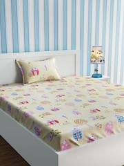 URBAN DREAM Yellow Cartoon Characters Flat 210 TC Cotton 1 Single Bedsheet  With 1 Pillow Covers